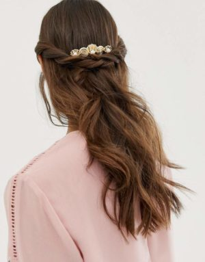hair comb in shell design with crystal and pearl detail in gold
